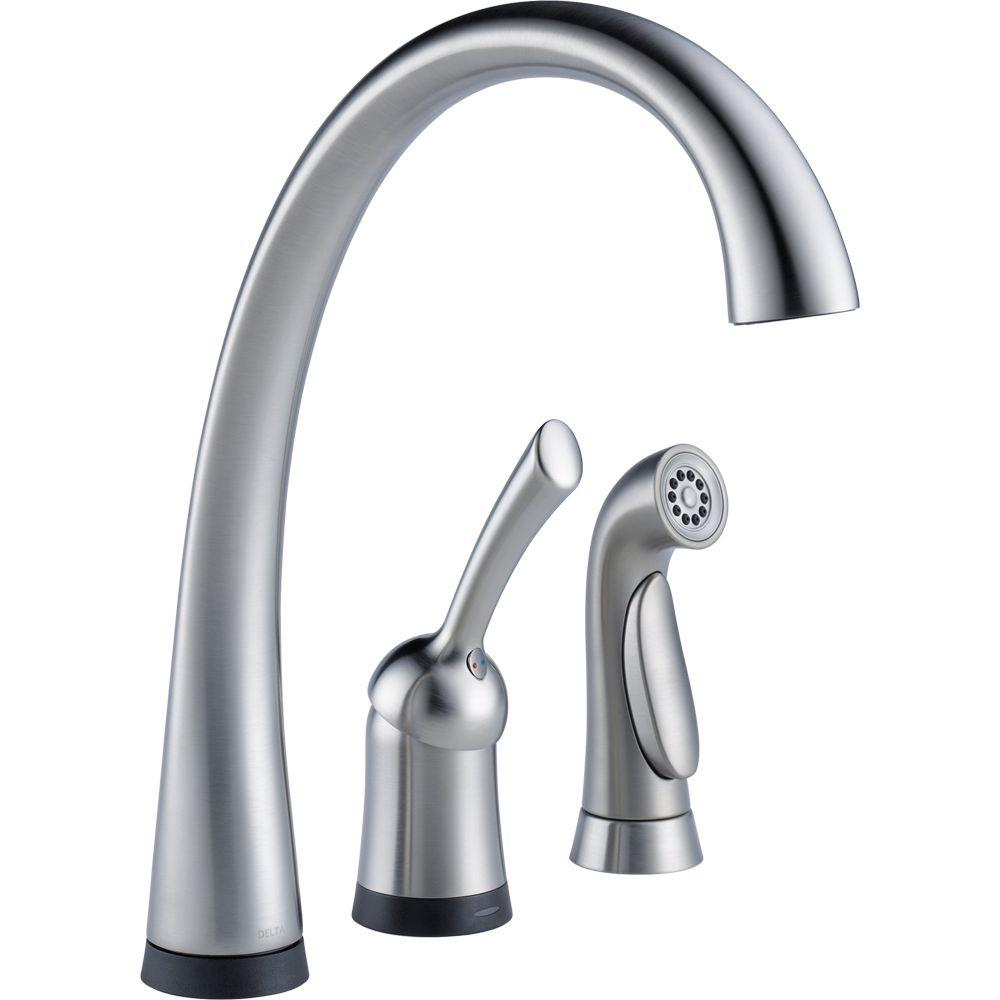 Delta Pilar Waterfall Single-Handle Standard Kitchen Faucet with Side Sprayer and Touch2O Technology in Arctic Stainless
