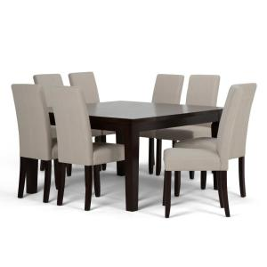 Simpli Home Acadian 9-Piece Dining Set with 8 Upholstered ...