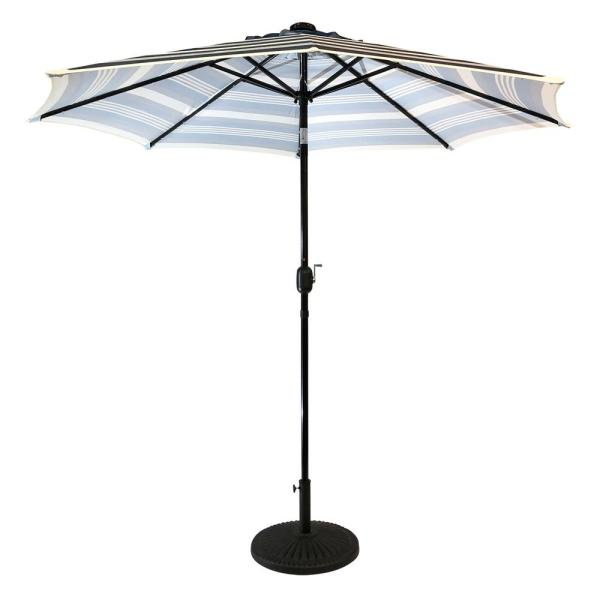 9 ft. Steel Solar Lighted 8-Rib Round Market Patio Umbrella in Navy Striped