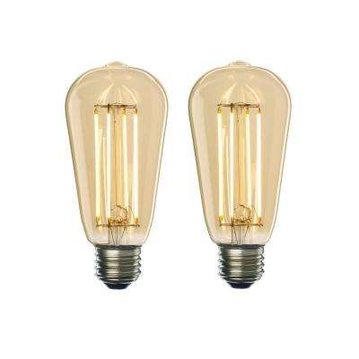 60W Equivalent Amber Light ST18 Dimmable LED Filament Light Bulb (2-Pack)