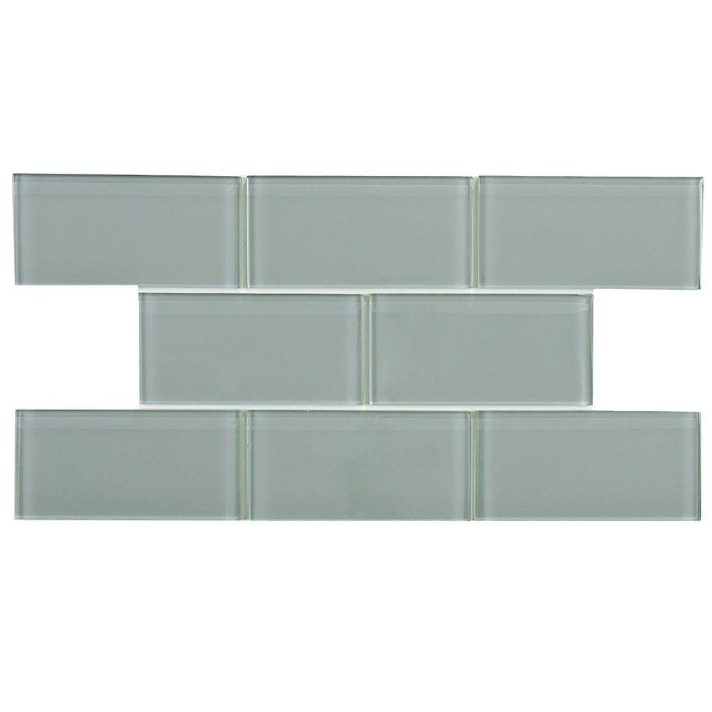 Merola Tile Tessera Subway Blue Smoke 6 In X 3 In Glass Wall Tile