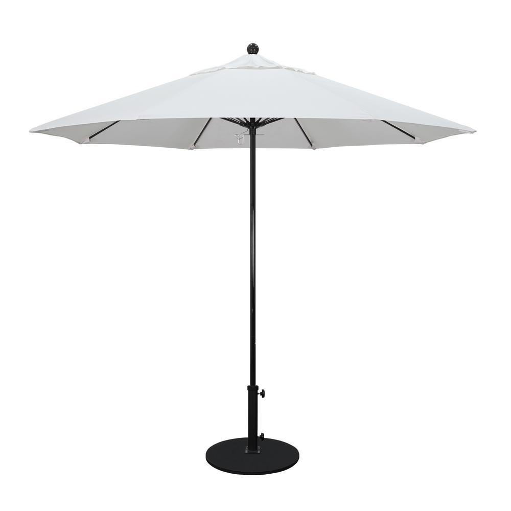 California Umbrella 9 ft. Fiberglass Pole Market Fiberglass Ribs Push Lift Patio Umbrella in Natural Sunbrella