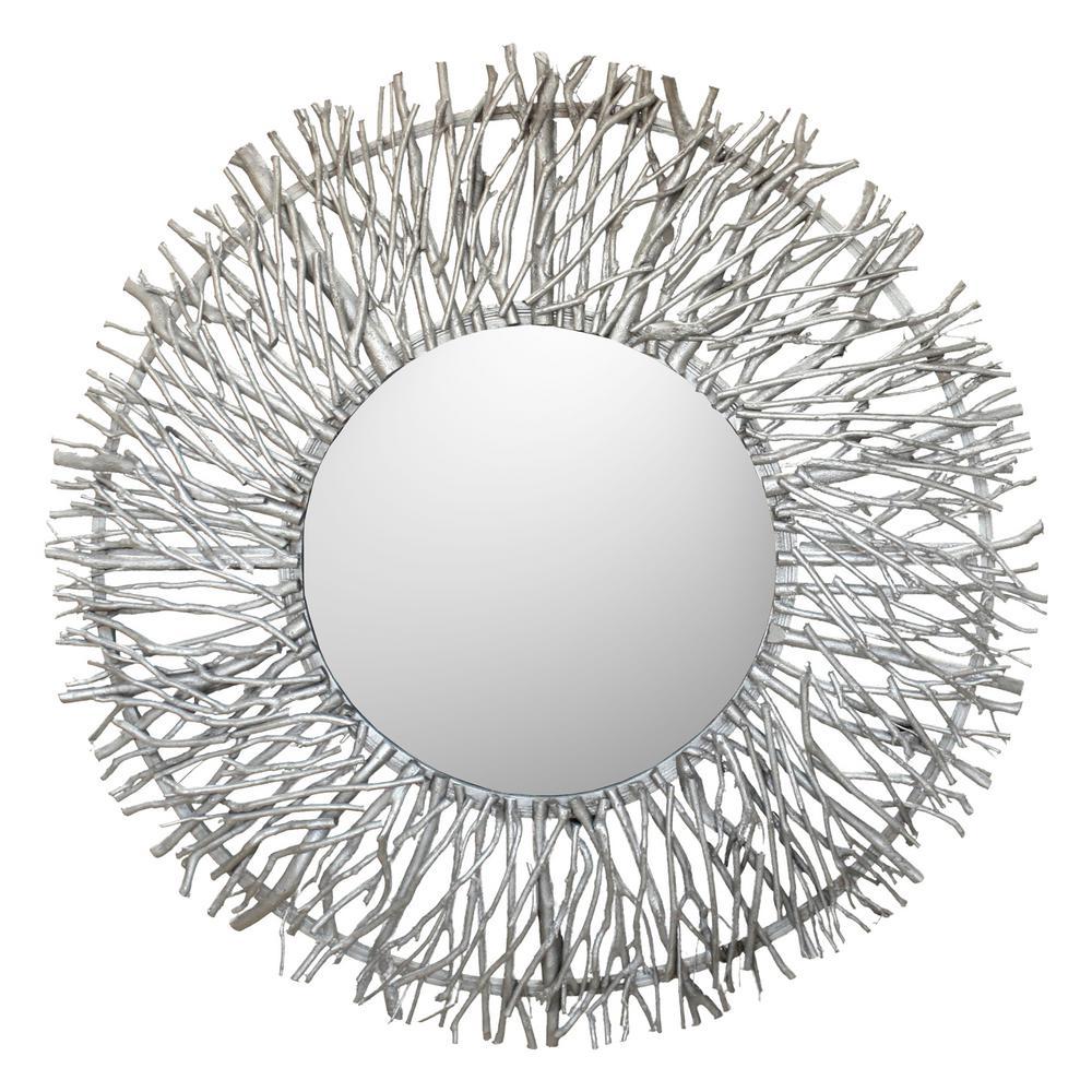 Iker Silver Tree Branch Wall Mirror
