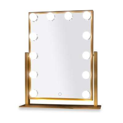 Hollywood 12 in. x 16 in. Tri-Color 12-Bulbs LED Mirror in Gold