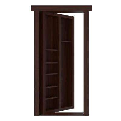 32 in. x 80 in. Flush Mount Assembled Pool Cue Door Cherry Dark Stained Left-Hand Inswing