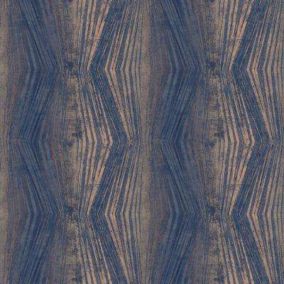 Vermeil Stripe Blue and Rose Gold Removable Wallpaper
