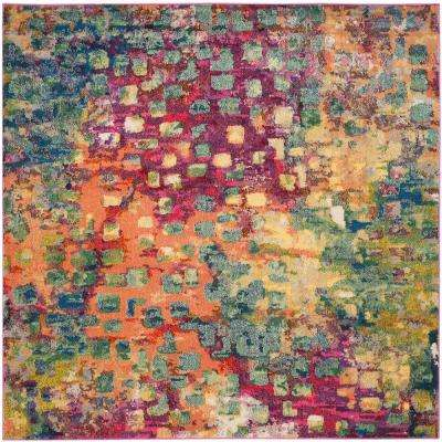 Monaco Pink/Multi 9 ft. x 9 ft. Square Area Rug