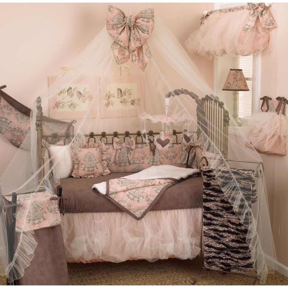 Nightingale Pink Floral 4-Piece Crib Bedding Set