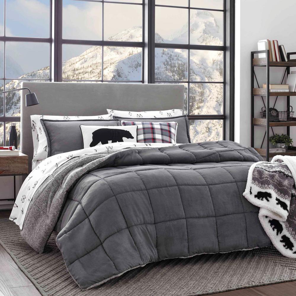 Sherwood 3-Piece Gray Solid Full/Queen Comforter Set