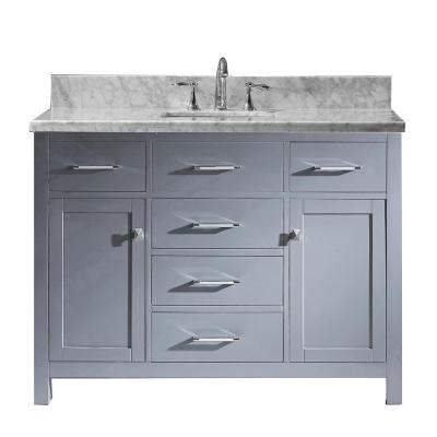 Virtu USA Caroline 49 in. W Bath Vanity in Gray with Marble Vanity Top in White with Square Basin and Faucet