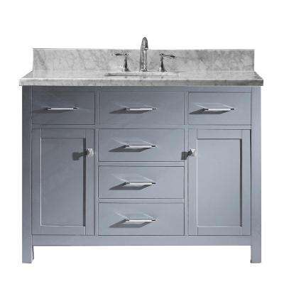 Caroline 48 in. W x 22 in. D Vanity in Gray with Marble Vanity Top in White with White Basin with Faucet