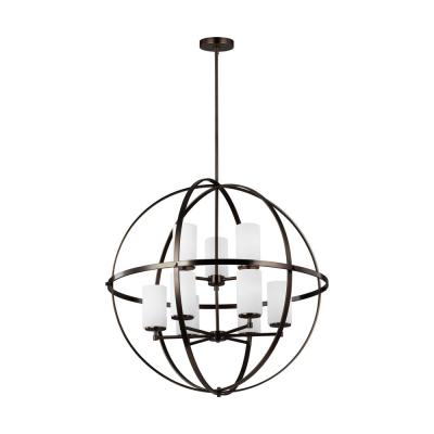 Sea Gull Lighting Calhoun 24 In 5 Light Weathered Gray Orb