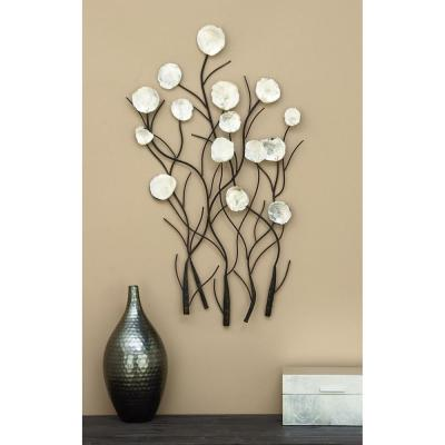 36 in. x 24 in. Metal Pearl Wall Decor