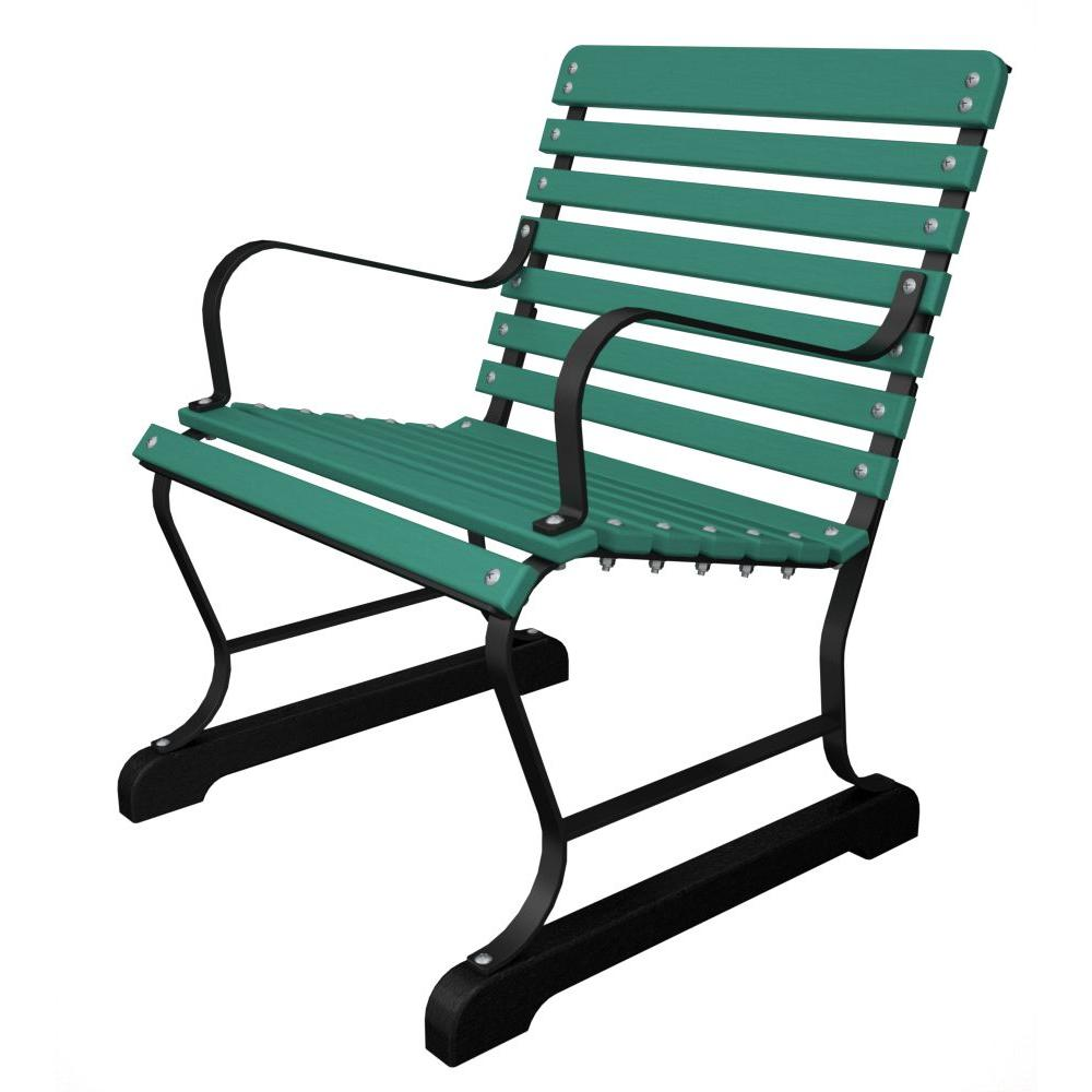 Ivy Terrace 22 in. Black and Aruba Patio Armchair-DISCONTINUED