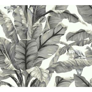 Banana Leaf White/Black Premium Peel and Stick Wallpaper Roll (Covers 45 sq. ft.)