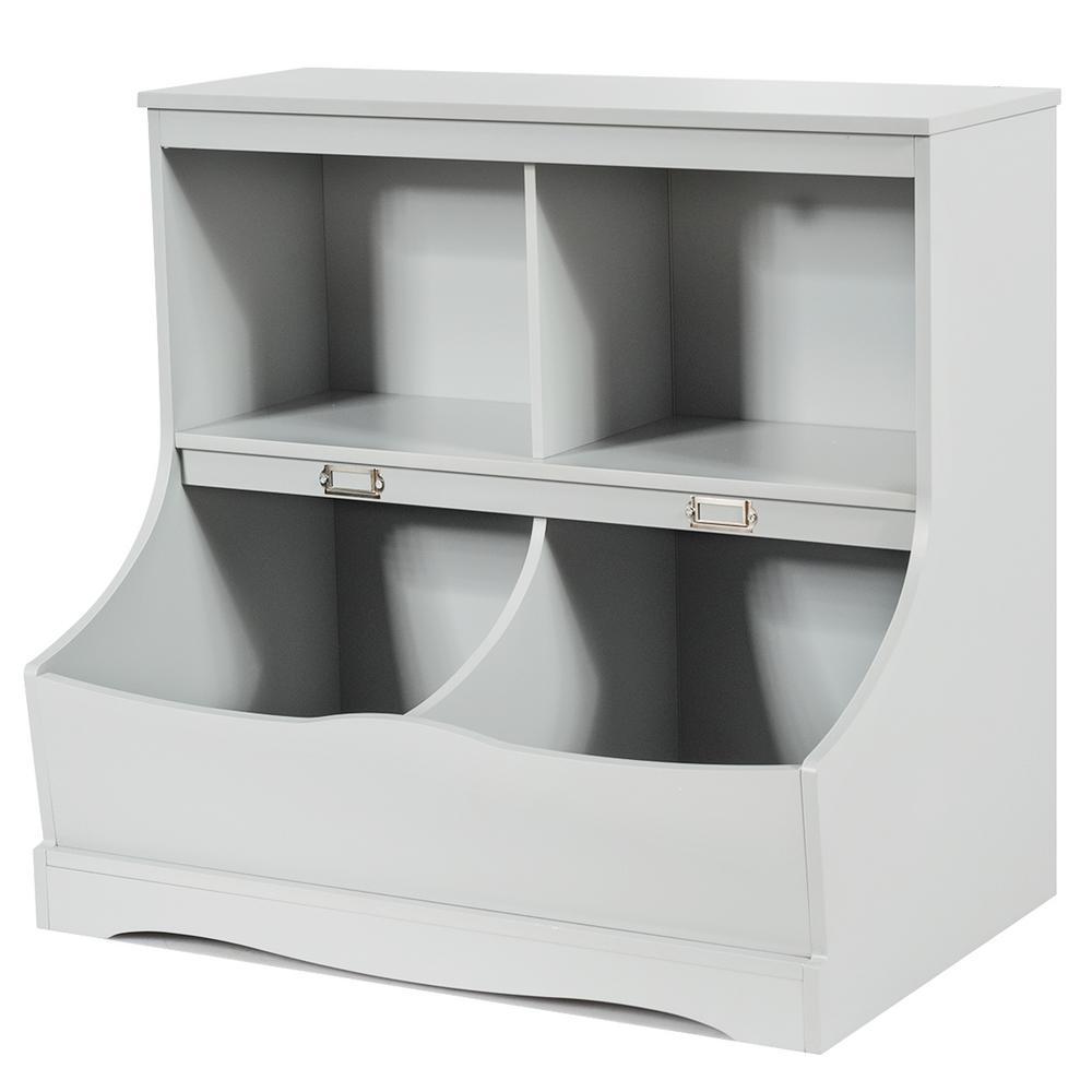 2-Shelf Grey Wooden Kids Multi-Functional Bookcase Floor Toy Storage Display