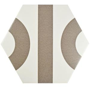 Roll Hex White with Taupe Grey 9-7/8 in. x 11-3/8 in. Porcelain Floor and Wall Tile (10.23 sq. ft. / case)