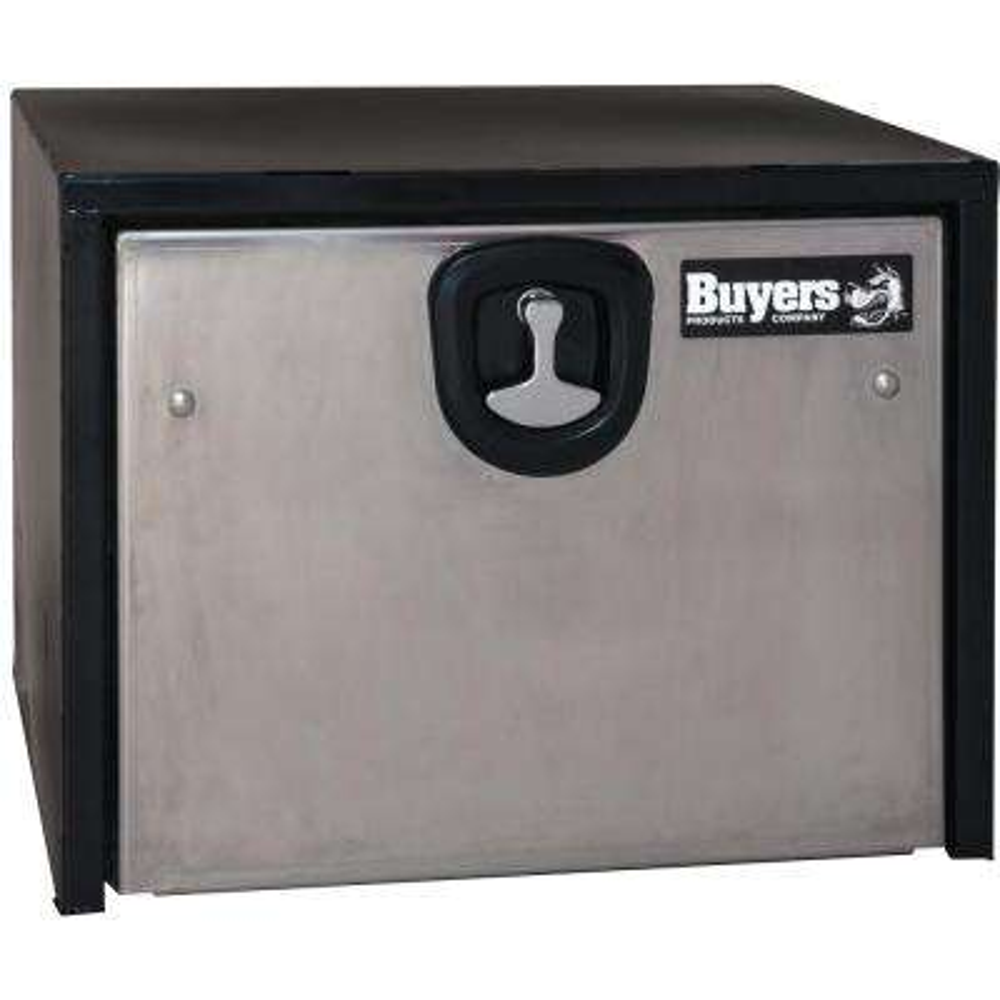 24 in. Black Steel Underbody Tool Box with Polished Stainless Steel Door