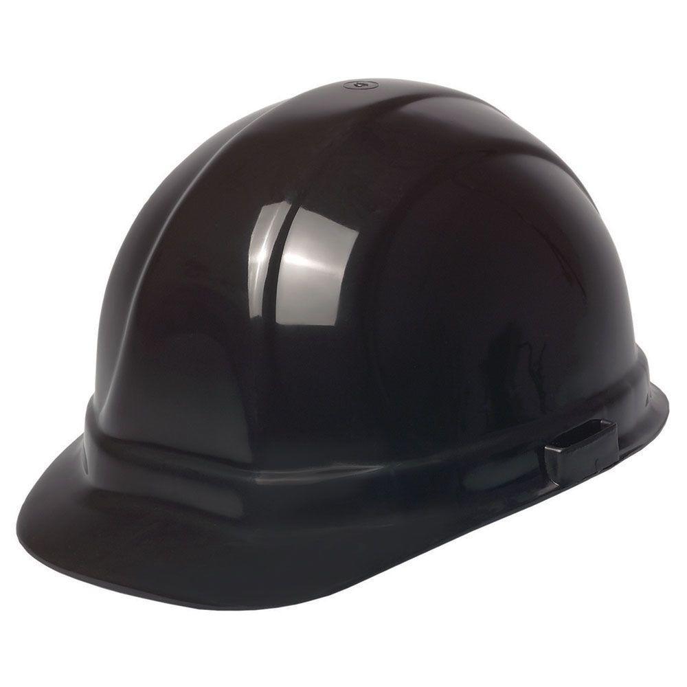 Omega II 6 Point Nylon Suspension Slide-Lock Cap Hard Hat in Black