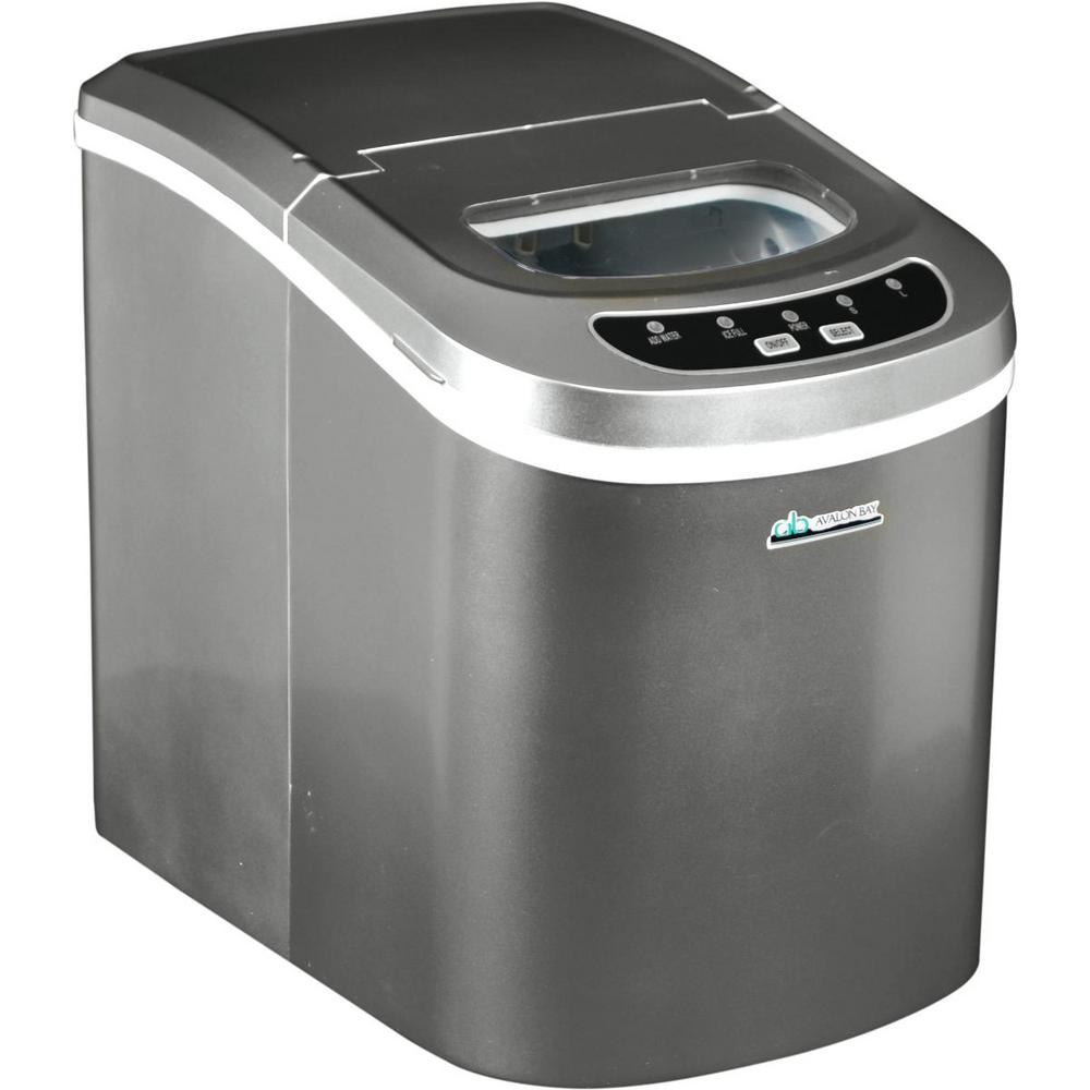 Avalon Bay 26 lb. Freestanding Ice Maker in Silver, Metal...