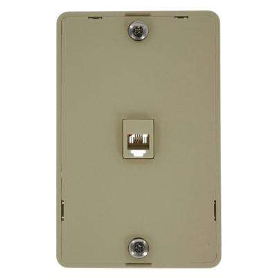 6-Position 4-Conductor Screw Terminals Telephone Wall Jack In Ivory