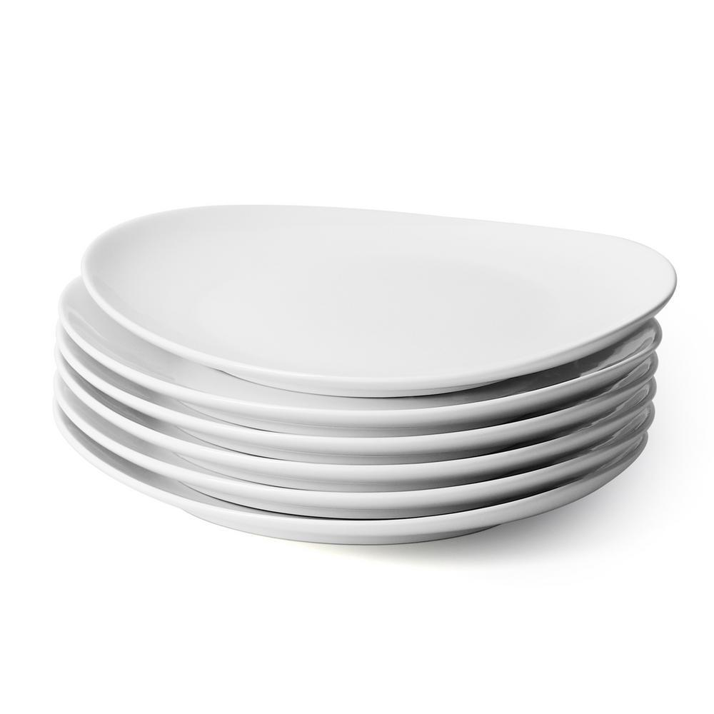 Sweese Porcelain Dinner Plates - 11 Inch - Set of 6, White
