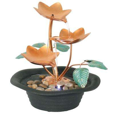 10 in. Copper Blossom Tabletop Cascading Fountain with LED Light