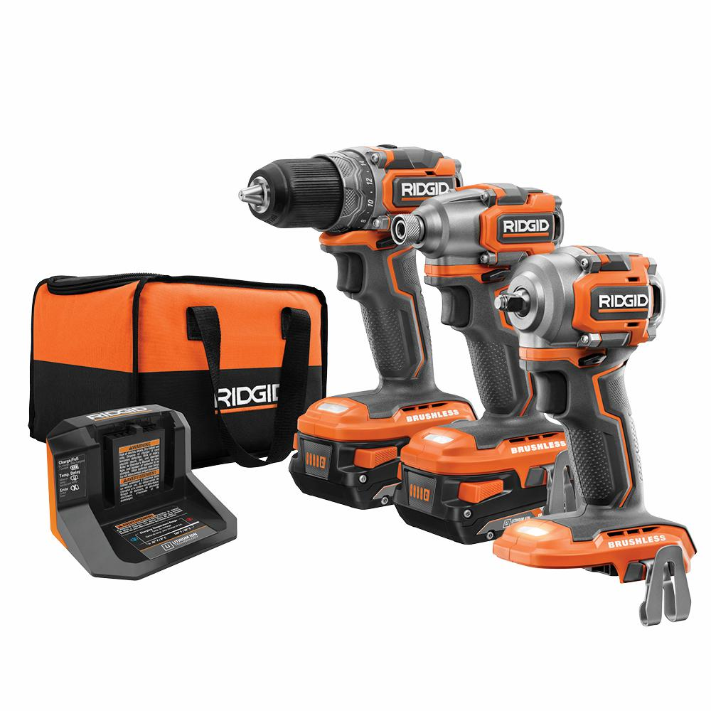 RIDGID 18-Volt SubCompact Li-Ion Brushless 2-Tool Combo Kit, 3/8 in. Impact Wrench with (2) 2.0 Ah Batteries, Charger, and Bag was $574.0 now $309.0 (46.0% off)