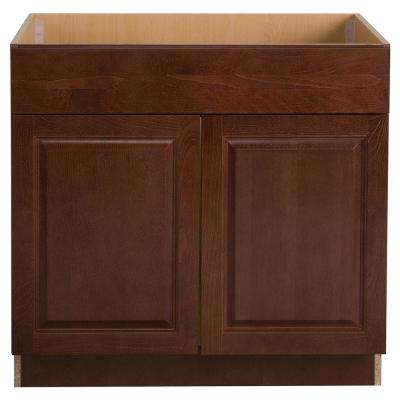 Benton Assembled 36x34.5x24.5 in. Sink Base Cabinet in Amber