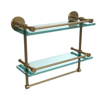 16 in. L  x 12 in. H  x 5 in. W 2-Tier Gallery Clear Glass Bathroom Shelf with Towel Bar in Brushed Bronze