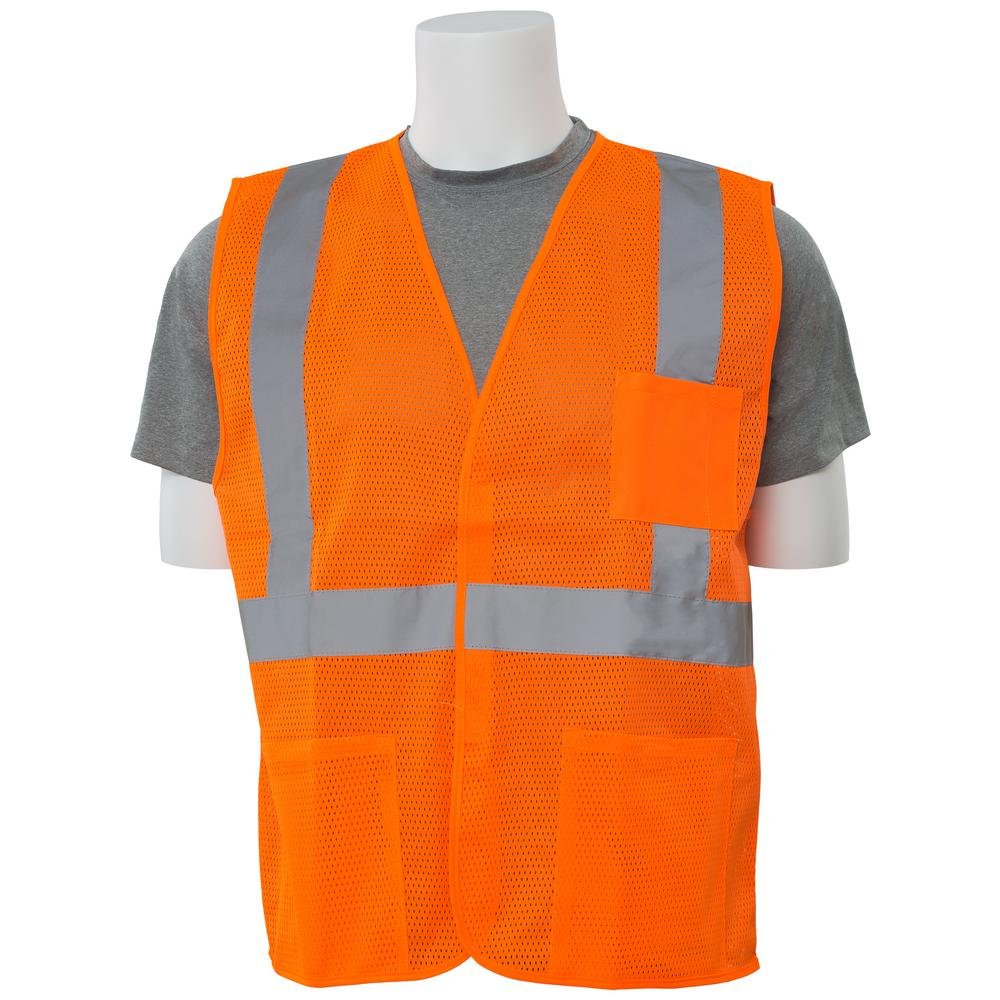 ERB S362P XL Class 2 Economy Poly Mesh Pocketed Hi Viz Orange Vest