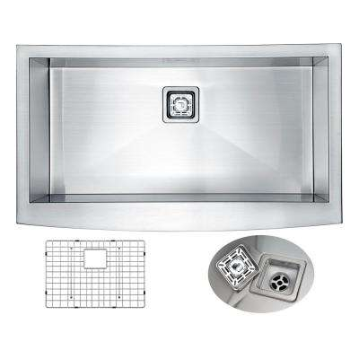 ELYSIAN Series 35.875 in. 0 Hole Farm House Single Basin Kitchen Sink in  Handmade Stainless Steel