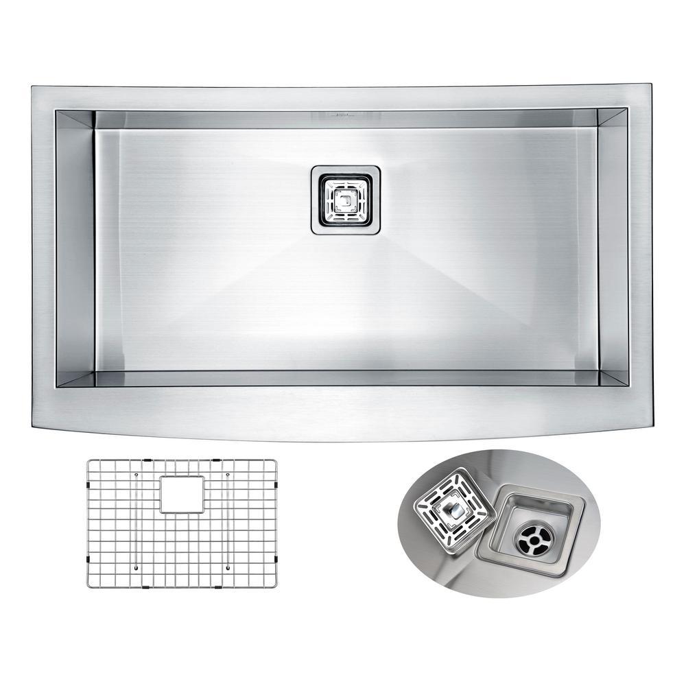 ELYSIAN Series 35.875 in. 0 Hole Farm House Single Basin Kitchen Sink in Handmade Stainless Steel