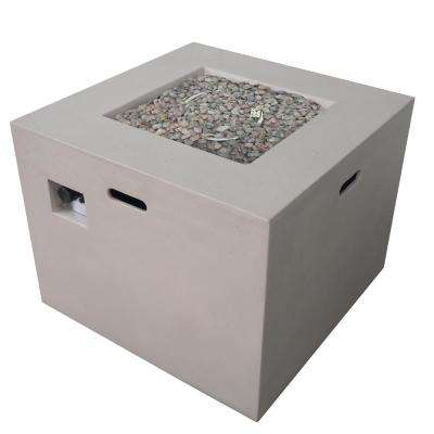 Zachary 31 in. x 24.5 in. Square Concrete Propane Fire Pit in Light Gray