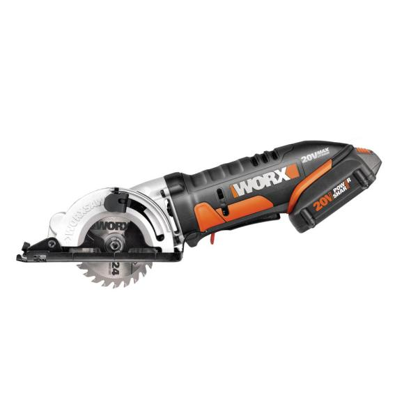 POWER SHARE 20-Volt Worxsaw 3-3/8 in. Compact Circular Saw