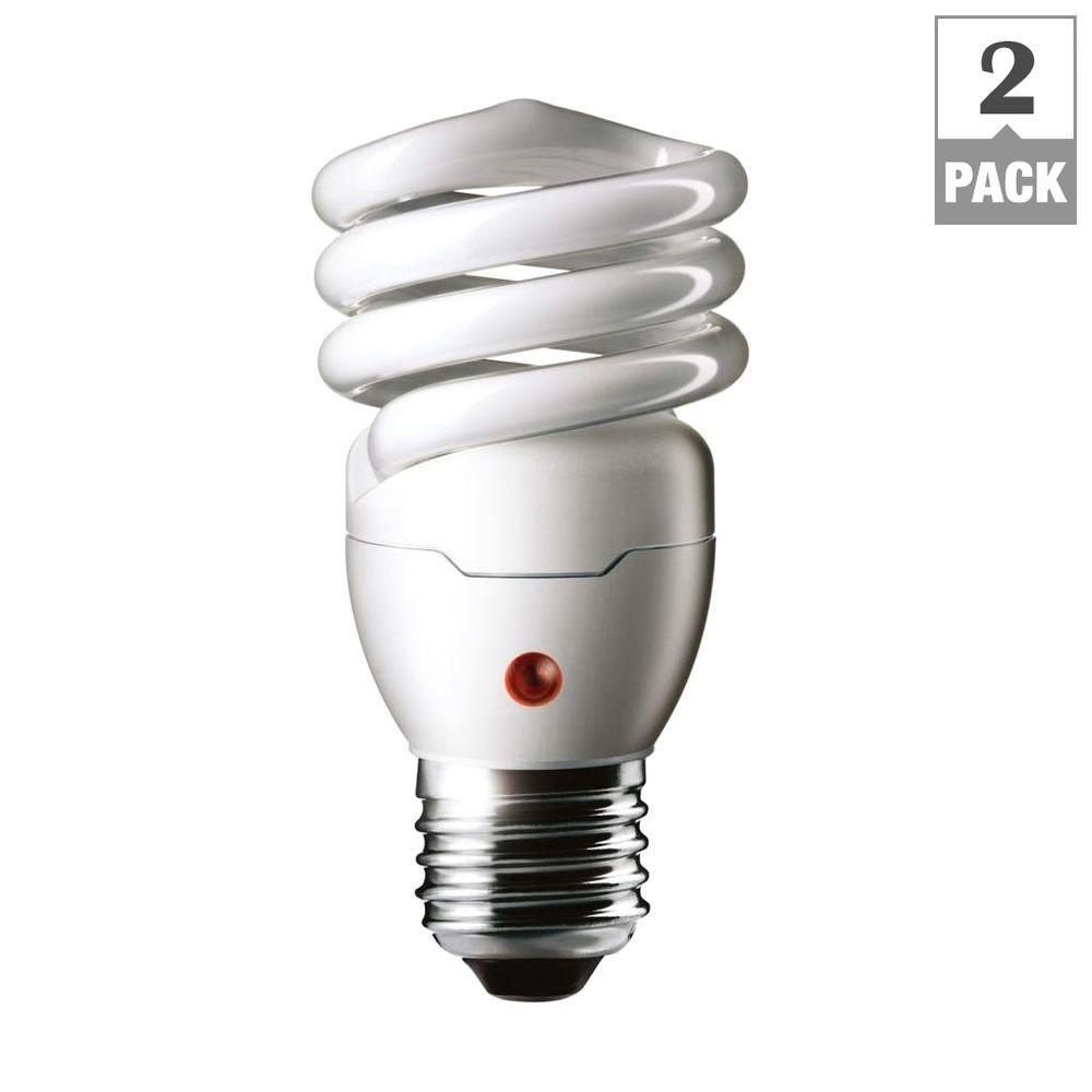 60W Equivalent Soft White Spiral Dusk Till Dawn CFL Light Bulb (2-Pack)