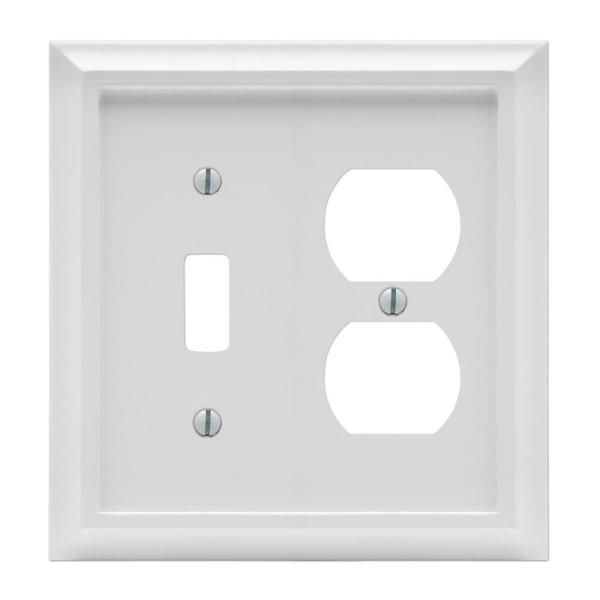 Deerfield 2 Gang 1-Toggle and 1-Duplex Composite Wall Plate - White