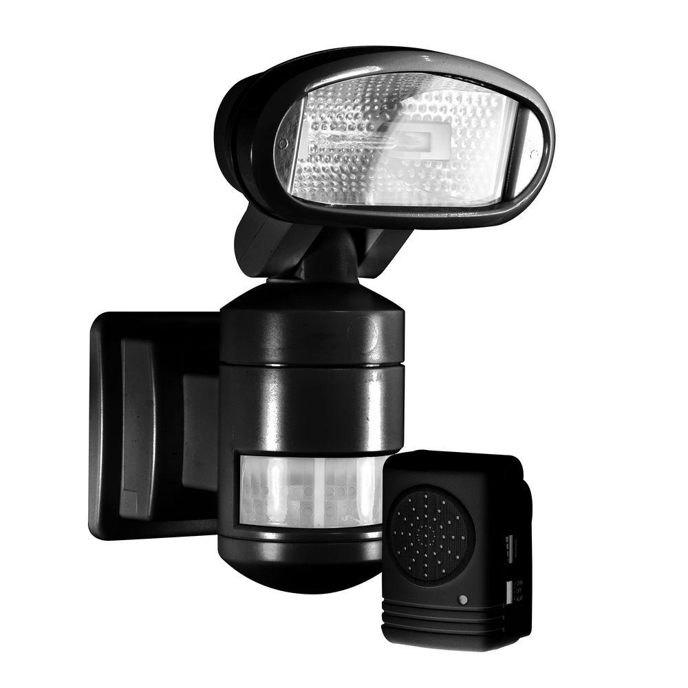 220 Degree Outdoor Black Motorized Motion Tracking Halogen Security Light With Wireless Indoor Audio Alarm
