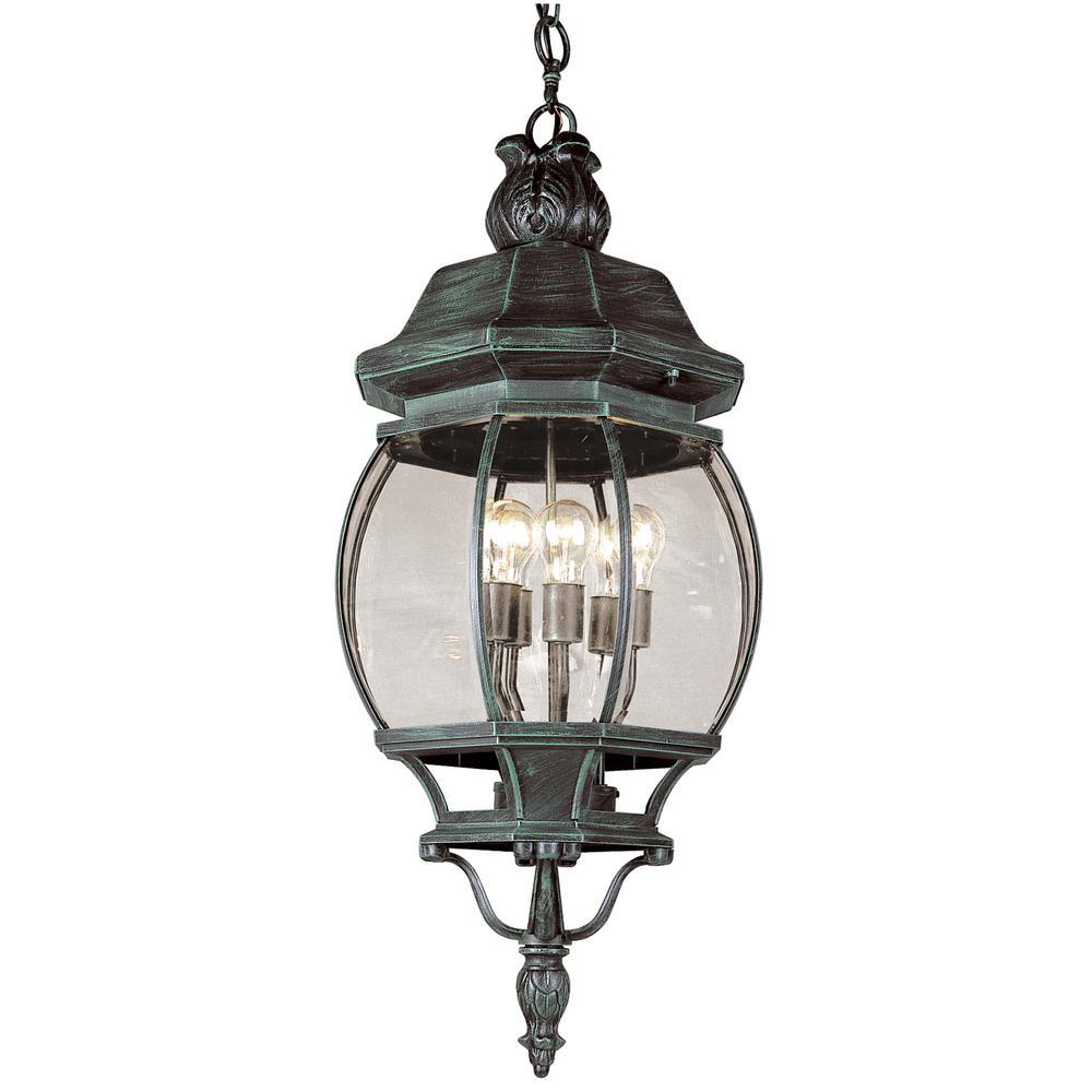 4 Light Outdoor Verde Green Hanging Lantern