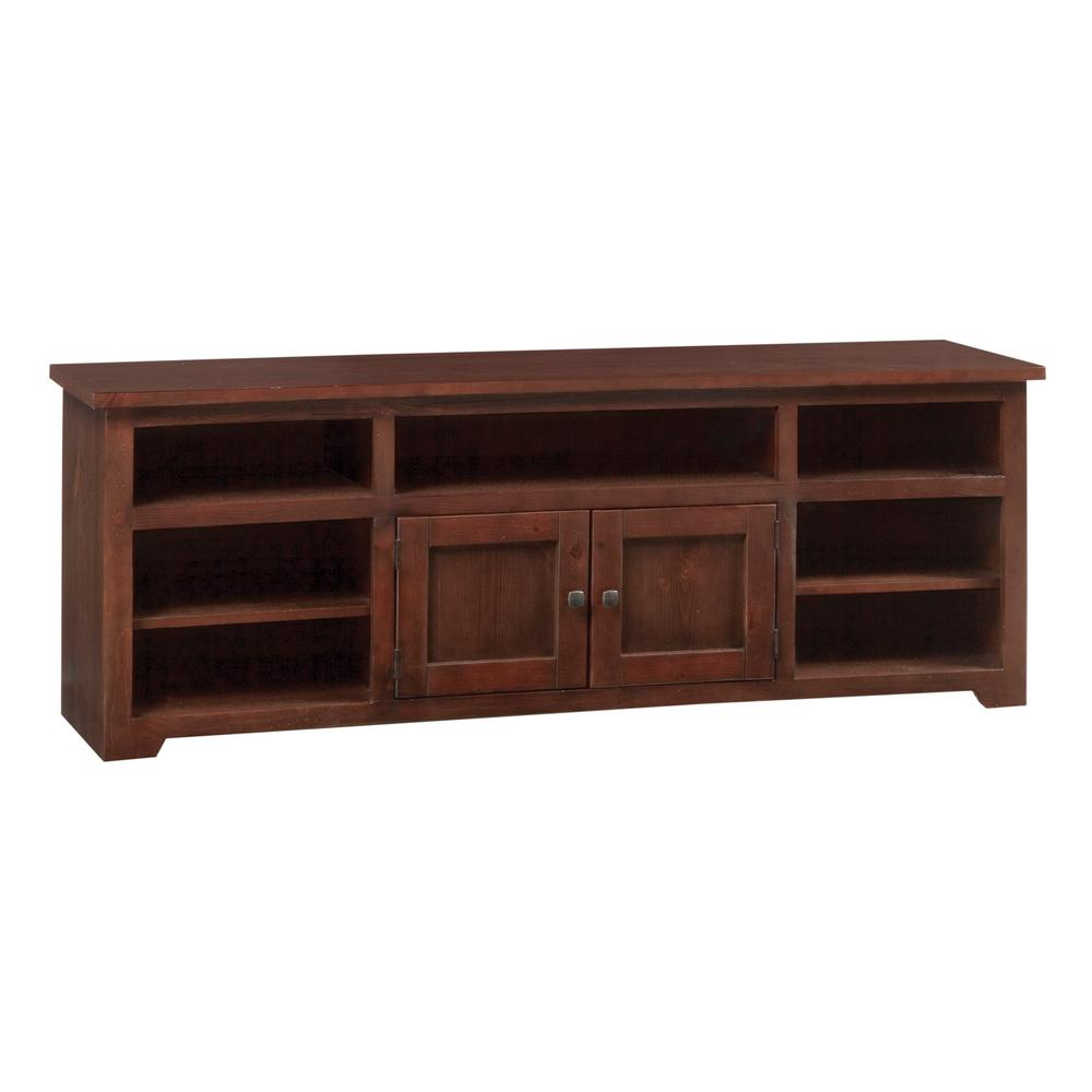 Sonoma 70 in. Espresso Pine Wood TV Stand Fits TVs Up to 75 in. with Storage Doors