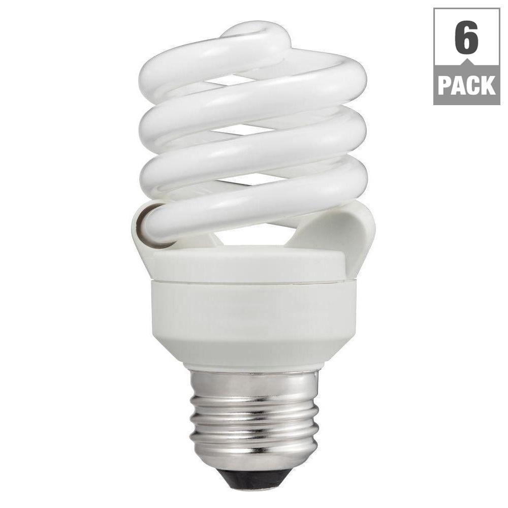 60-Watt Equivalent T2 Spiral CFL Light Bulb Daylight (5000K) (6-Pack)