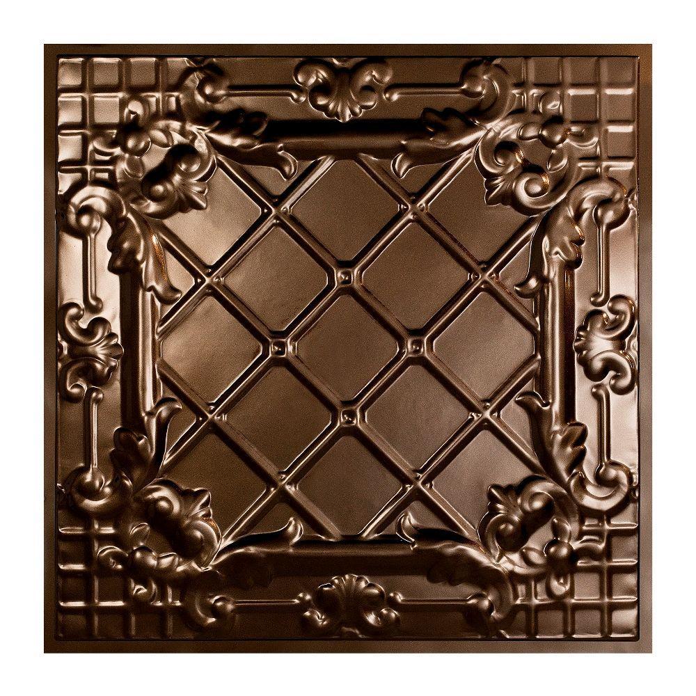 Great Lakes Tin Toledo 2 ft. x 2 ft. Lay-in Tin Ceiling Tile in Bronze Burst