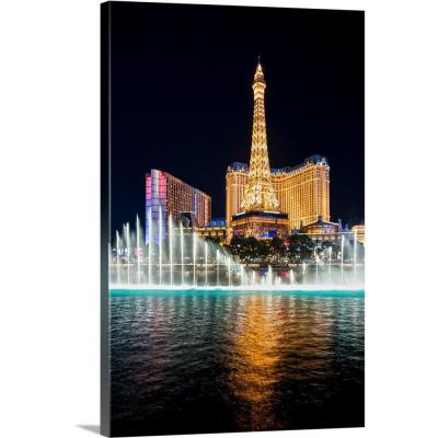 """""""Bellagio Water Show, Eiffel Tower, Las Vegas"""" by Circle Capture Canvas Wall Art"""