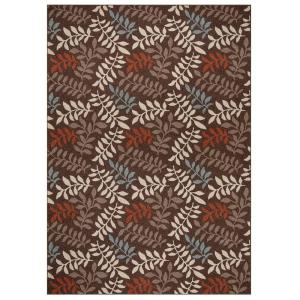 Chester Leafs Brown 7 ft. x 9 ft. Area Rug