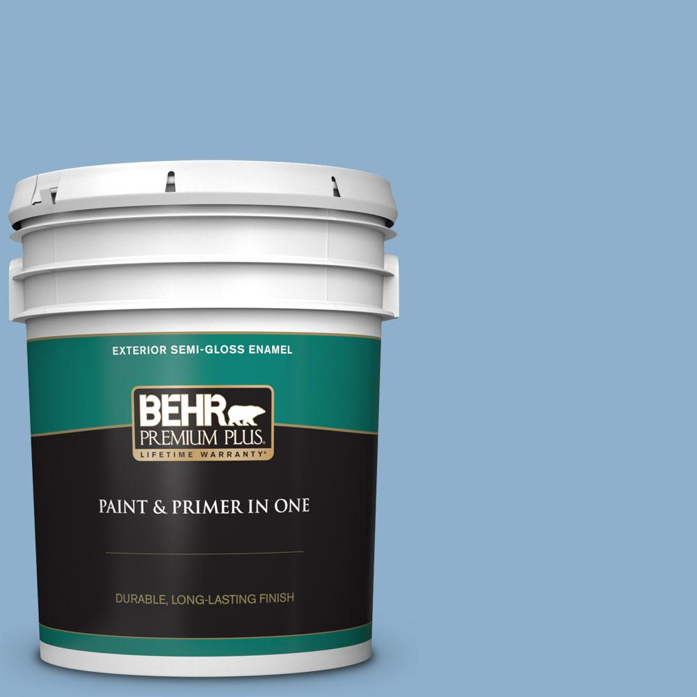 Behr Premium Plus 5 Gal M510 3 Sailors Knot Semi Gloss Enamel Exterior Paint And Primer In One 540005 The Home Depot