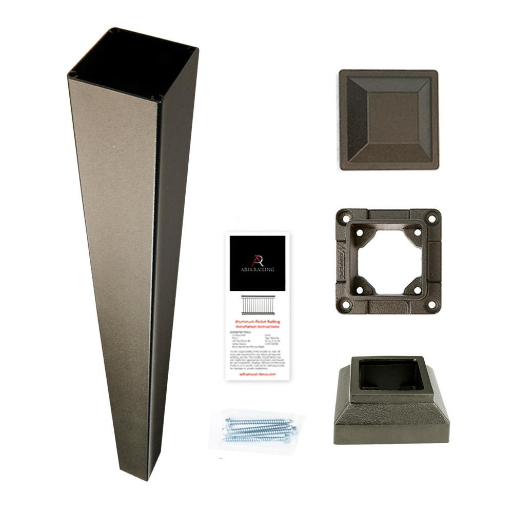 3 in. x 3 in. x 42 in. Bronze Powder Coated Aluminum Deck Post Kit