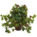Nearly Natural Indoor Raspberry Artificial Plant in Decorative Planter
