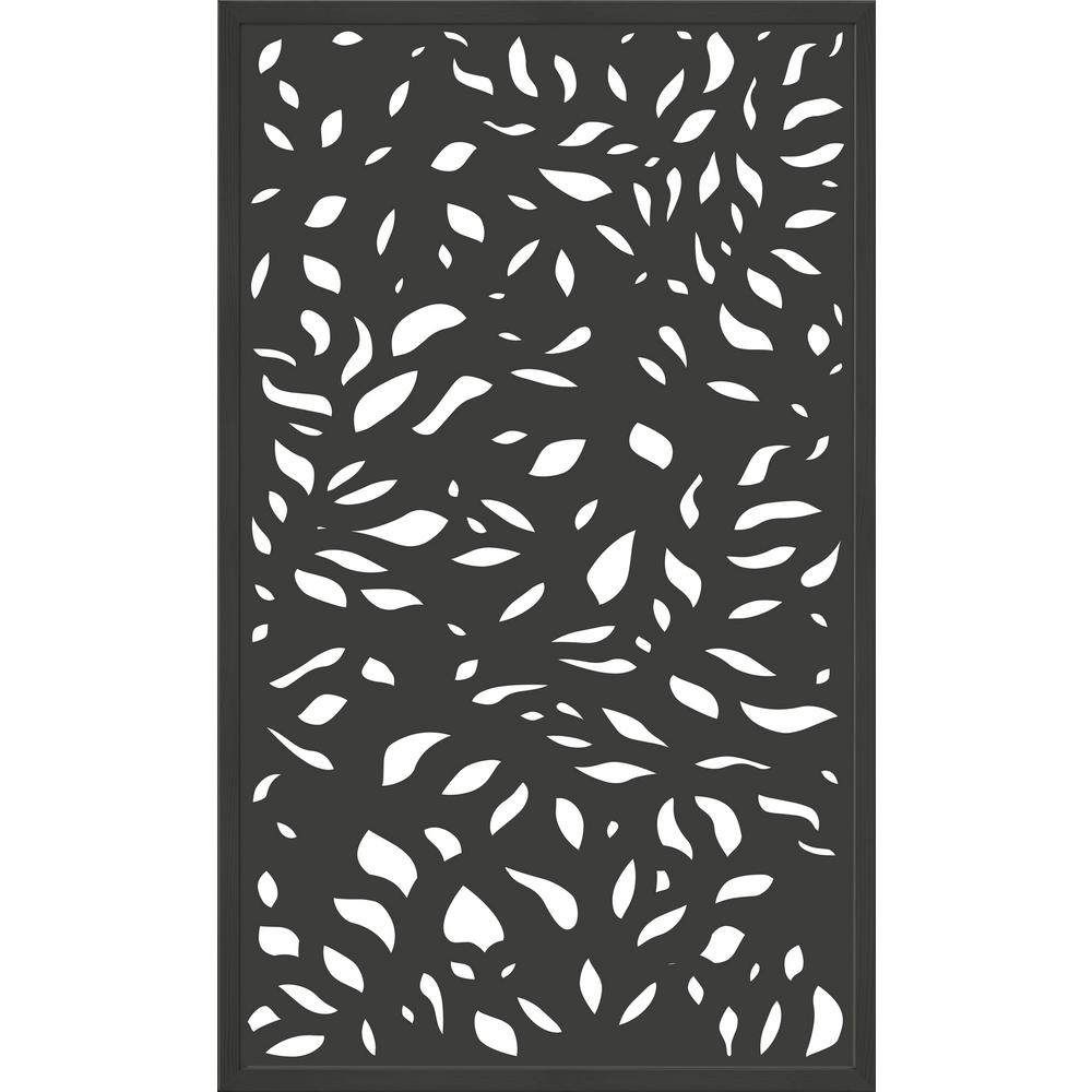 Modinex 5 ft. x 3 ft. Framed Charcoal Gray Decorative Composite Fence Panel featured in The Leaf Design