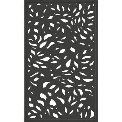 5 ft. x 3 ft. Framed Charcoal Gray Decorative Composite Fence Panel featured in The Leaf Design