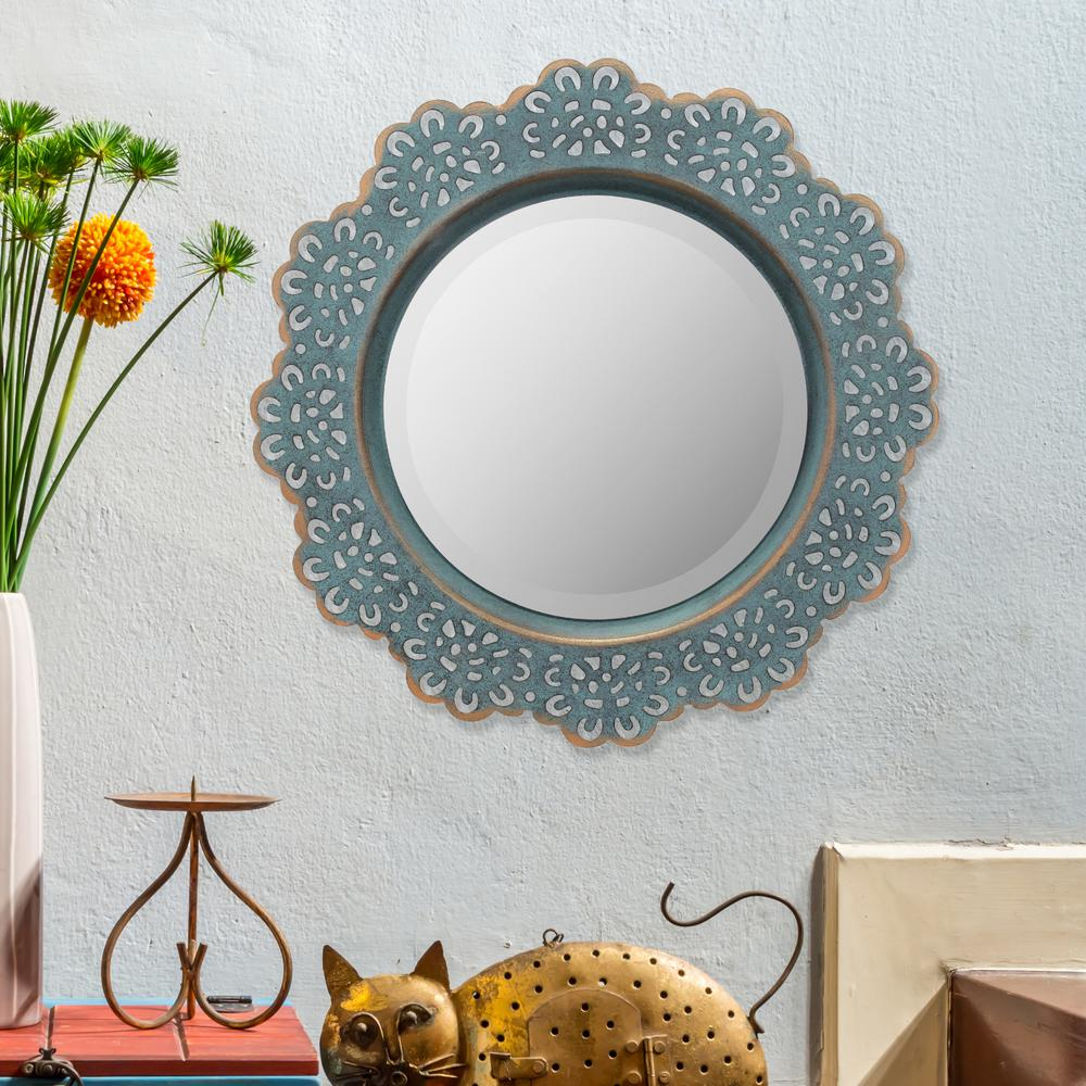 Stonebriar Collection 12 5 In X Blue Metal Lace Wall Mirror